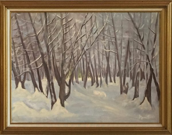oil painting of Fresh Snow in the Cedars