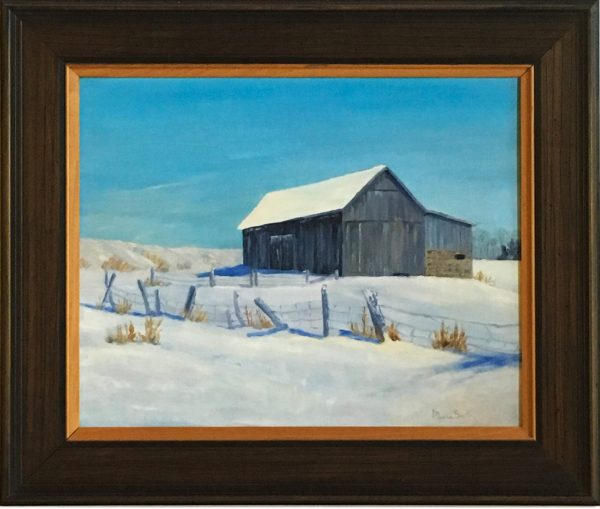 oil painting of The Rains Barn
