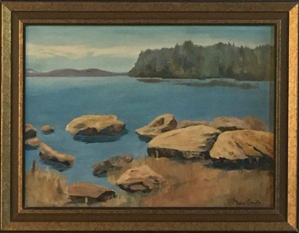 oil painting of Sailors Encampment shore